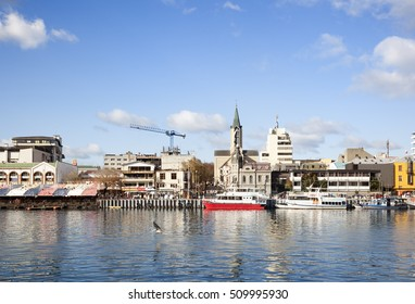 VALDIVIA-MAY 23, 2015: Views in front of the comercial dock to the Valdivia river in Valdivia city, Chile on May 23, 2015