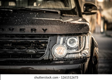Valdobbiadene, Italy - September 2018: close up on details of a Land Rover Discovery 4 LR4 , all black sport edition.