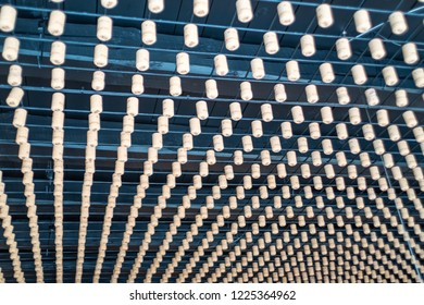 Valdobbiadene, Italy/Vicenza - October 13, 2018: textured ceiling, create by several corked wine bottles cups, suspended as a decoration.