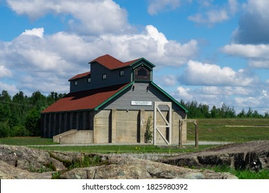 Val-d'Or, Canada - july 2020 : exterior view of a ore storehouse at the Cité de l'Or historic site
