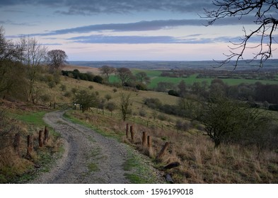 The Vale of Aylesbury from the Chiltern Hills, in the county of Buckinghamshire, England, on an early winters morning.
