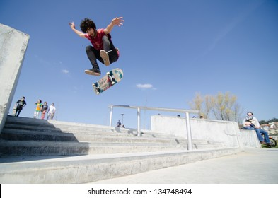 VALE DE CAMBRA, PORTUGAL - APRIL 06: Soneca at Best Trick Skate Contest by Kate on april 06, 2013 in Vale de Cambra, Portugal.