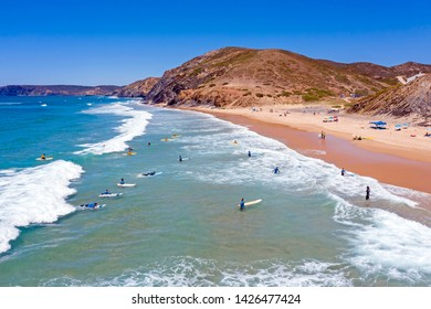 Vale Figueiras, Portugal - June 15, 2019: Aerial from surfing at Praia Vale Figueiras in Portugal
