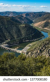 Valeira Dam and surrounding landscape near the village of Sao Joao da Pesqueira, Portugal. Concept for travel in Portugal and most beautiful places in Portugal.