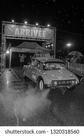 VALENCE, FRANCE, February 2, 2019 : Arrival for the day in Valence. Rallye Historique is reserved to those cars which have participated in the Rallye Automobile Monte-Carlo before 1980.