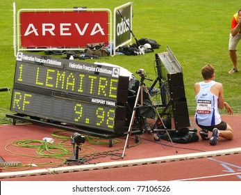 VALENCE, FRANCE - JUL 09: Christophe Lemaitre beats National French Record of 100m 9s98 in French Track Athletics National Championship 2010 on July 09, 2010, Valence, France.