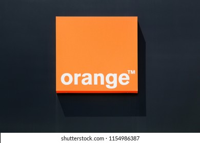 Valence, France - July 1, 2018: Orange logo on a wall. Orange formerly France Telecom, is a French multinational telecommunications corporation