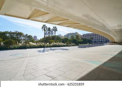 Valencia Alameda exposicion bridge on Turia river park low angle view at Spain
