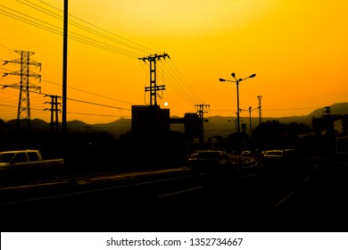 Valencia, Carabobo, Venezuela. 26/03/2019. The wild fires and the power surge blackout combined for a beautiful sunset as the second blackout in less than 2 weeks darkened the city