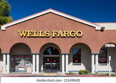 VALENCIA, CA/USA - AUGUST 17, 2014. Wells Fargo bank exterior. Wells Fargo is an American multinational banking and financial services holding company headquartered in San Francisco, California.