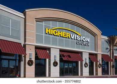 VALENCIA CA/USA - DECEMBER 26, 2015: Higher Vision exterior and logo. Higher Vision church is a non-demoninational Christian church in the United States.