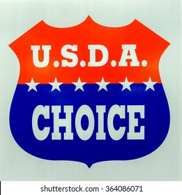 VALENCIA, CA/USA - JANUARY 17, 2016: U.S.D.A Choice emblem and logo as rated by the United States Department of Agriculture.