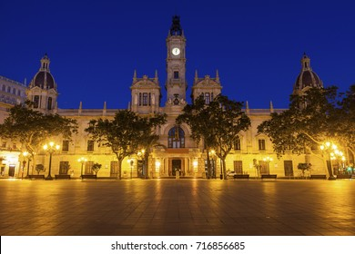 Valencia City Hall on Plaza del Ayuntamiento in Valencia. Valencia, Valencian Community, Spain.