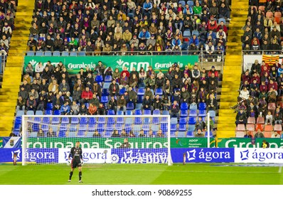 VALENCIA - DECEMBER 10: Munua (Levante FC goalkeeper) waiting behind the goal during the Spanish league match between Levante FC and Sevilla, on December 10, 2011, in Valencia, Spain