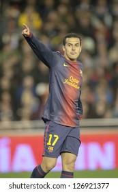VALENCIA - FEBRUARY 3: Pedro during Spanish League match between Valencia CF and FC Barcelona, on February 3, 2013, in Mestalla Stadium, Valencia, Spain