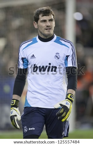 07c73fdf3 VALENCIA - JANUARY 20  Iker Casillas during Spanish Soccer League match  between Valencia CF and Real Madrid
