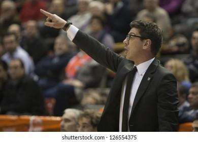 VALENCIA - JANUARY 29: Fotis Katsikaris during Bakestball match between Valencia Basket Club and Uxue Bilbao, on January 29, 2013, in La Fonteta Stadium, Valencia, Spain