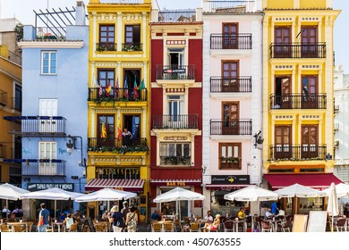 VALENCIA -JUNE 24: Old Town colorful houses  on June 24 2016 in Valencia, Spain.Valencia Old Town attracts 4 million annual visitors.