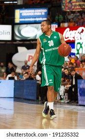 VALENCIA - MAY, 1: Andrew Goudelock drives the ball during a Eurocup Finals match between Valencia Basket Club and Unics Kazan at the Fonteta Stadium on May 1, 2014 in Valencia, Spain