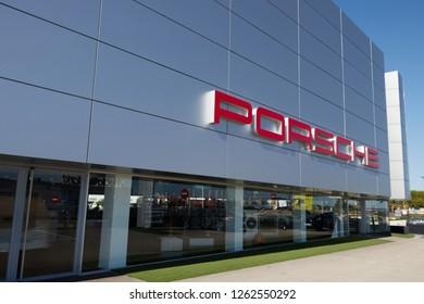 VALENCIA, OCTOBER 2018 - Porsche offices near the airport of Valencia.