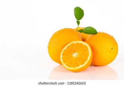 Valencia oranges on white background.