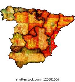 valencia region on administration map of regions of spain with flags and emblems