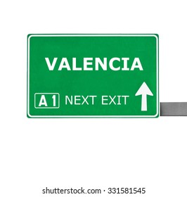 VALENCIA road sign isolated on white