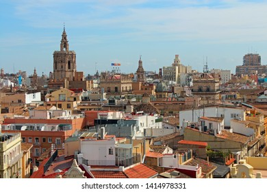 Valencia, Spain - 05/06/2019: panoramic view from the top of the Towers of Serranos