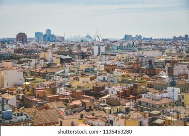 Valencia, Spain - 05.18.2018: Aerial view of center Valencia from the top of Esglèsia de Santa Caterina Catholic Church
