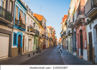 Valencia, Spain - 05.18.2018: Narrow streets of El Cabanyal neighbourhood in Valencia