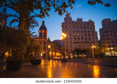 Valencia, Spain - 05.18.2018: View of the city center in the evening, blue hour