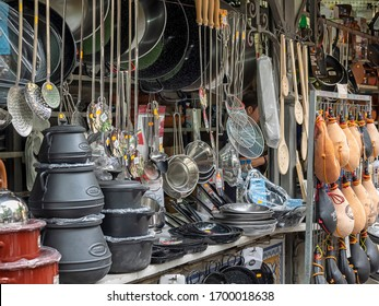 VALENCIA, SPAIN - 05/24/2018:  Pots and pans for sale at traditional Iron Mongers hardware Shop