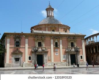 Valencia  / Spain - 07.21.2017: The Virgin Square. Royal Basilica of Our Lady of the Desamparados.