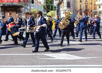 valencia  Spain - 1 march 2020:Fanfare plays in the street . The Fallas in Valencia Spain