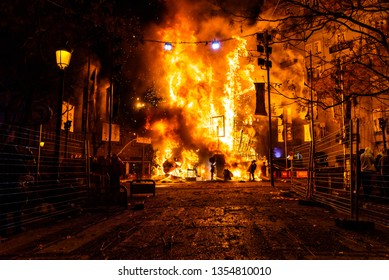 Valencia, spain - 19 march 2019:  Valencian Falla burning in a street