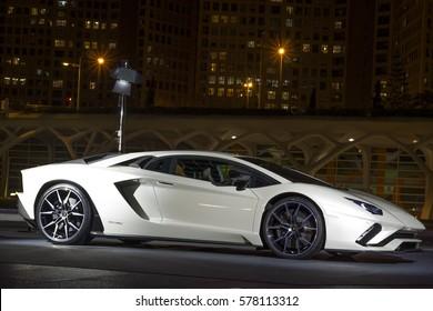 VALENCIA SPAIN, 26 JANUARY 2017: New Lamborghini Aventador exposed in the new part of the city VALENCIA, SPAIN 2017. ilustrativ editorial