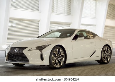 VALENCIA SPAIN,  26 OCTOBER 2016: New 2018 Lexus LC 500h exposed in the new part of the city VALENCIA