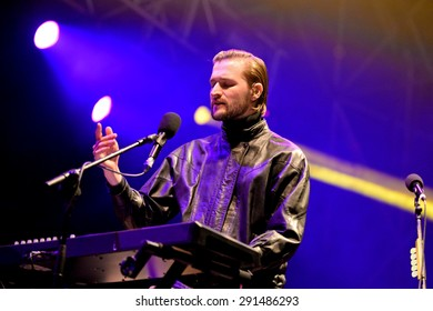 VALENCIA, SPAIN - APR 4: The keyboard player and singer of Wild Beasts (band) performs on stage at MBC Fest on April 4, 2015 in Valencia, Spain.