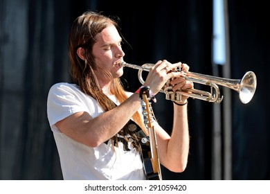 VALENCIA, SPAIN - APR 4: The trumpet player of Za (band) performs at MBC Fest on April 4, 2015 in Valencia, Spain.