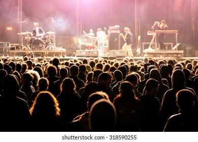 VALENCIA, SPAIN - APR 5: Crowd watch a concert at MBC Fest on April 5, 2015 in Valencia, Spain.