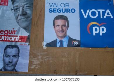 VALENCIA, SPAIN- April 11, 2019: Political campaign poster depicting conservative  presidential candidate  Pablo Casado