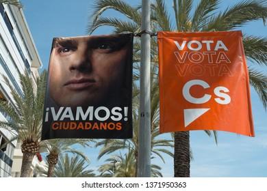 VALENCIA, SPAIN- April 11, 2019: Political campaign poster depicting Ciudadanos party candidates