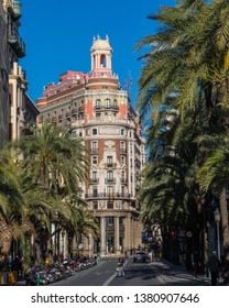 Valencia, Spain - April 11th 2019: A view of the stunning exterior of the headquarters of the Banco de Valencia, or Bank of Valencia, in the historic city of Valencia in Spain.