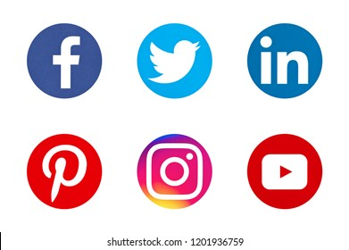 Valencia, Spain - April 12, 2017: Collection of popular social media logos printed on paper: Facebook, Twitter, LinkedIn, Pinterest, Instagram, Youtube.