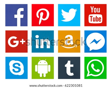 30db3cbb552128 Valencia, Spain - April 12, 2017: Collection of popular social media logos  printed