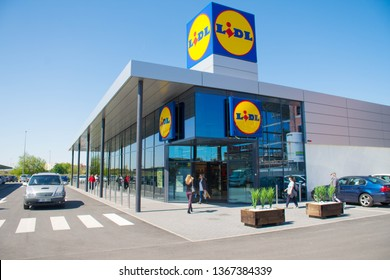 Valencia, Spain; April 12 2019:  New supermarket Lidl, Lidl is a German supermarket company very famous in Europe