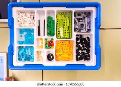 Valencia, Spain - April 13, 2019: Box with pieces to create Robots with programmable Lego WeDo blocks.