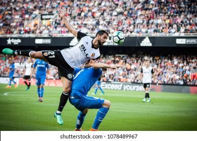 VALENCIA, SPAIN - APRIL 18: (21) Montoya during Spanish La Liga match between Valencia CF and Getafe CF at Mestalla Stadium on April 18, 2018 in Valencia, Spain