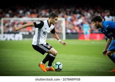 VALENCIA, SPAIN - APRIL 18: Andreas Pereira during Spanish La Liga match between Valencia CF and Getafe CF at Mestalla Stadium on April 18, 2018 in Valencia, Spain