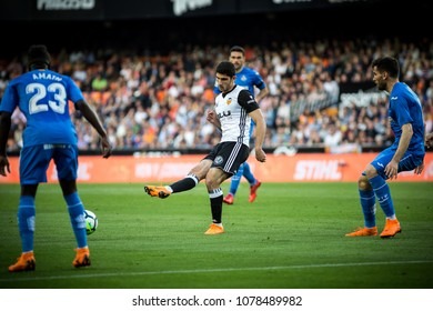 VALENCIA, SPAIN - APRIL 18: Guedes with ball during Spanish La Liga match between Valencia CF and Getafe CF at Mestalla Stadium on April 18, 2018 in Valencia, Spain